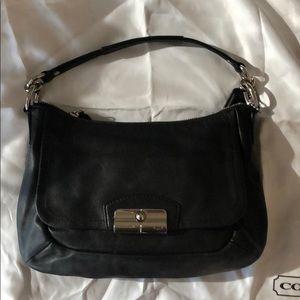 Coach Black Leather Pink Satin Handbag